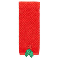 St. Nicholas Square® Textured Holly Hand Towel, Red