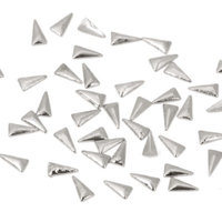Bundle Monster BMC Sassy 100pc Silver Metal Alloy Tribal Triangle Nail Art Accessory Studs