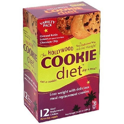 Hollywood Miracle Diet Hollywood Cookie Diet Meal Replacement Cookies, Variety Pack of Chocolate Chip, Lemon, and Oatmeal Raisin, 1.4-Ounce Cookies (Pack of 12)