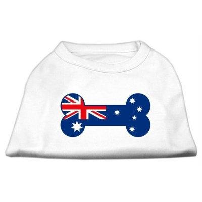 Mirage Pet Products 5109 XLWT Bone Shaped Australian Flag Screen Print Shirts White XL 16