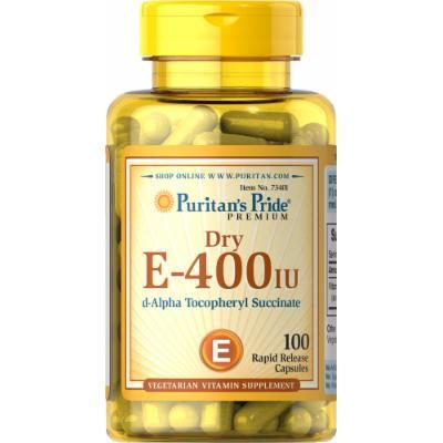 Puritan's Pride Vitamin E -Dry 400 IU Natural-100 Capsules