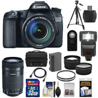 Canon EOS 70D Digital SLR Camera & EF-S 18-135mm IS with 55-250mm IS STM Lens + 32GB Card + Battery + Case + Filters + Tripod + Flash + Tele/Wide Lenses + Kit