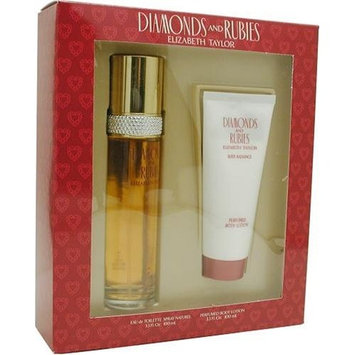 Diamonds & Rubies By Elizabeth Taylor For Women. Set-edt Spray 3.3 Ounces & Body Lotion 3.3 Ounces