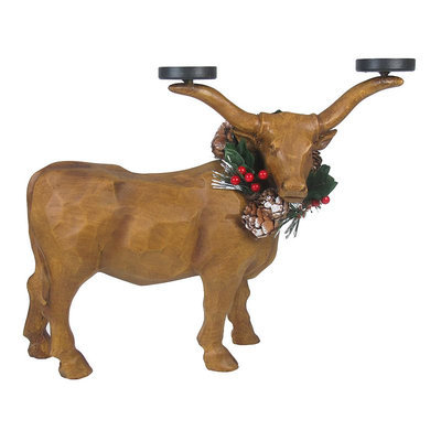 St. Nicholas Square® Christmas Texas Longhorn Tealight Candle Holder, Multicolor