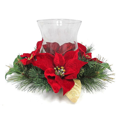 St. Nicholas Square® Christmas Poinsettia Hurricane Candle Holder, Multicolor