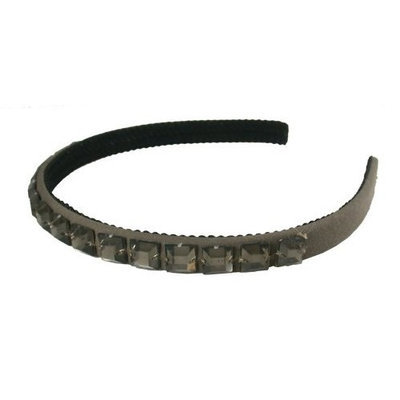 Smoothies Smokey Square Gem Satin Headband-Charcoal Gray 01602