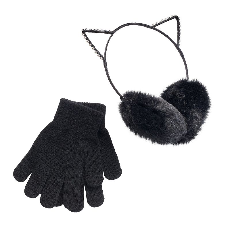 Girls 4-16 SO® Rhinestone Cat Ears Faux-Fur Earmuffs & Gloves Set, Girl's, Oxford