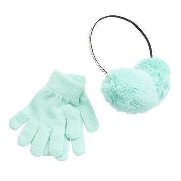 Girls 4-16 SO® Rhinestone Faux-Fur Earmuffs & Gloves Set, Girl's, Lt Green