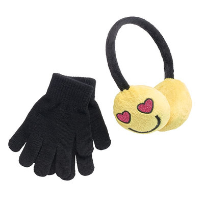 Girls 4-16 SO® Heart Eyes Emoji Earmuffs & Gloves Set, Girl's, Yellow