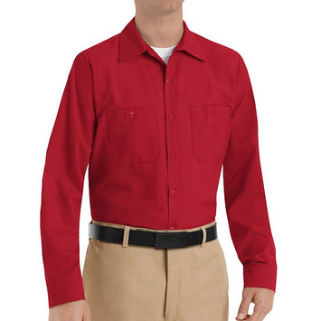 Red Kap Shirts Uniform Tops Long Sleeve Chocolate Brown Work Shirt