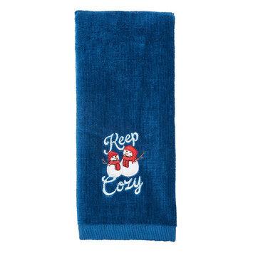 St. Nicholas Square Keep Cozy Snowmen Fingertip Towel, Blue