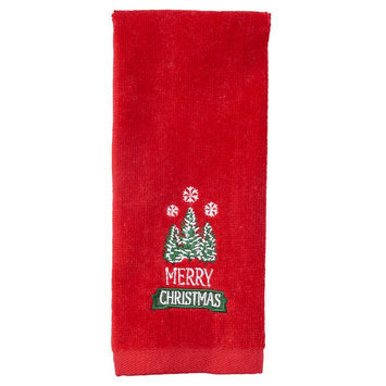 St. Nicholas Square Merry Christmas Trees Fingertip Towel, Red