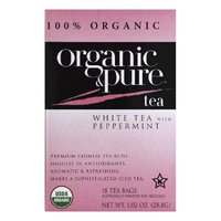 Organic & Pure Organic and Pure White Tea With Peppermint, - Pack of 6