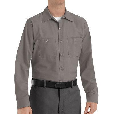Red Kap Shirts Uniform Tops Long Sleeve Work Shirts SP14GY - Grey - 4X Large