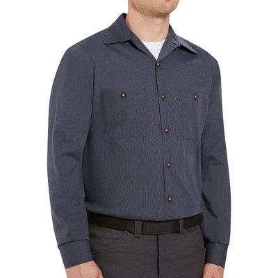 Red Kap Work Clothes Uniform Tops Microcheck Long Sleeve Shirt