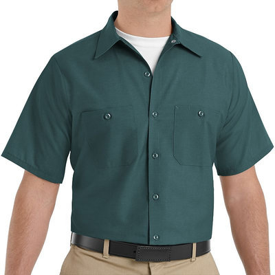 Red Kap Shirts Uniform Tops Spruce Green Short Sleeve Work Shirt
