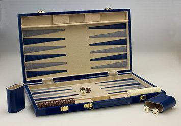 Sunnywood, Inc. Sterling Games 18-Inch Backgammon Set - Navy Blue Suede