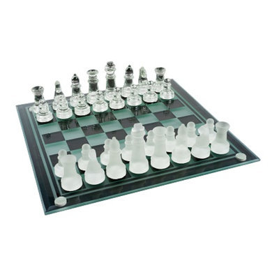 Trademark Games Elegant Glass Chess and Checker Board Set, Ages 7+, 1 ea