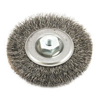 Forney 72236 Wire Wheel Brush Industrial Pro Crimped with Dual Arbor M10 and 1.50 4-Inch-by.014-Inc