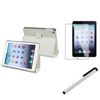 Insten iPad Mini 3/2/1 Case, by INSTEN White Clip On Leather Stand Case+Silver Stylus Pen+Protector for iPad Mini 1/2/3