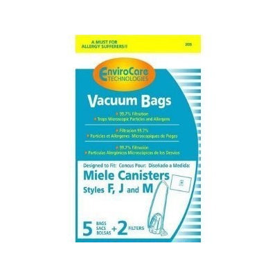 Envirocare Miele Type F, J M (FJM) HEPA Cloth Vacuum Cleaner Dustbags 10 Bags 4 Filters 10 Scent Tablets. Replaces Miele part