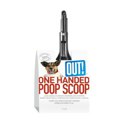 OUT! International Simply Out One Handed Poop Scooper - Black