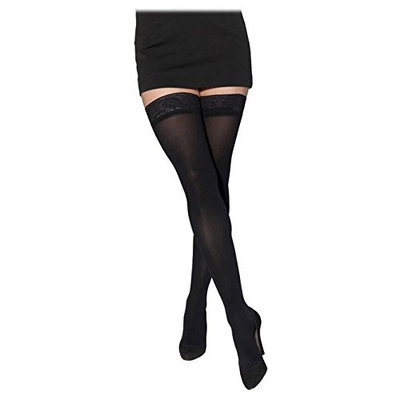 Sigvaris Soft Opaque 841NMLO99 15-20mmHg Open Toe Thigh-Highs Medium Long Women Black