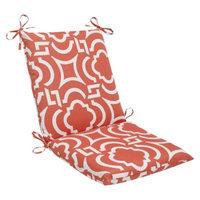 Pillow Perfect Outdoor Square Edge Chair Cushion - Orange/White Carmody