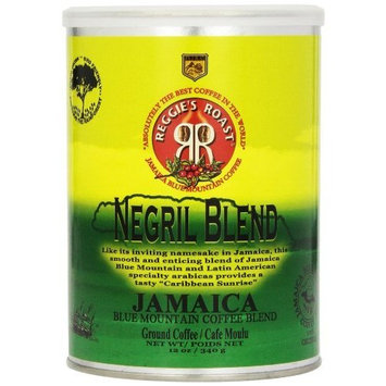 Reggies Roast Reggie's Roast Jamaica Blue Mountain Negril Blend Ground Coffee, 12-Ounce Cans (Pack of 3)