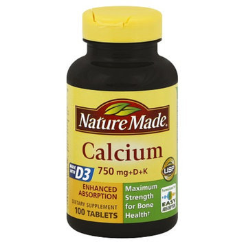 Nature Made Calcium 750 mg + D + K Dietary Supplement Tablets