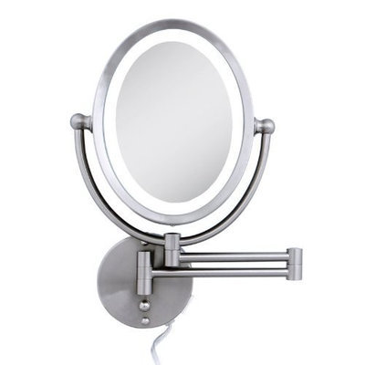 Zadro Lighted Oval Wall Mirror with Dimmer and 1X - 8X Magnification, Satin Nickel Finish