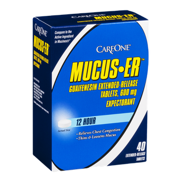 CareOne Mucus-ER Expectorant 12 Hour Tablets 600 mg - 40 CT