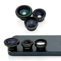 3 in 1 Universal Phone kit Fisheye Fish Eye Lens, Wide Angle Telephot 2xZoom and Micro Lens Smartphone Camera Lens - Black