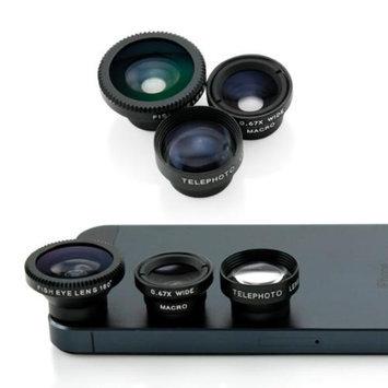 3 in 1 Universal Phone kit Fisheye Fish Eye Lens, Wide Angle Telephot 2xZoom and Micro Lens Smartphone Camera Lens - Black
