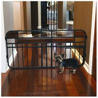 Carlson Pet Carlson 0832DS Home Decor Extra Tall Expandable Pet Gate, Charcoal steel with Cherry wood