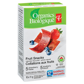 President's Choice Organics Strawberry Blueberry Toddlers Fruit Snacks