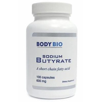 BodyBio , Sodium Butyrate , 100 Capsules , 600mg.