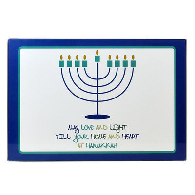 Celebrate Hanukkah Together Menorah Candle Drip Tray, Multicolor