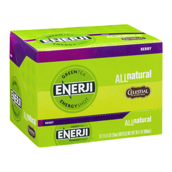 Enerji Green Tea Energy Shot Berry - 12 CT