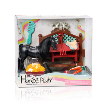 Lanard Toys Limited Black Friesian Stallion Primped N Pretty Horse Grooming Set