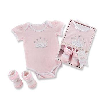Baby Aspen Girls Little Princess Bodysuit and Sock Gift Set