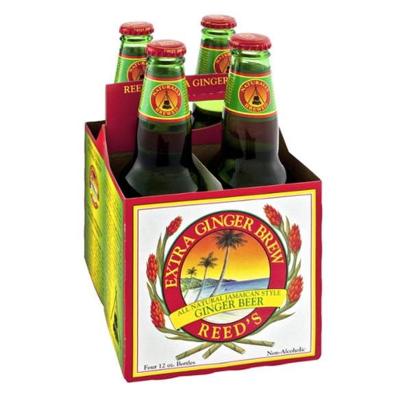 Reed's Extra Ginger Brew All Natural Jamaican Style Non-Alcoholic Ginger Beer - 4 CT