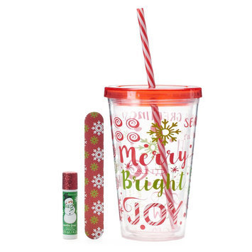 Simple Pleasures Candy Christmas Lip Balm, Nail File & Cup Gift Set, Ovrfl Oth