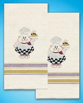 Design Works Crafts, Inc. Tobin Stamped Kitchen Towels For Embroidery Cat Chef - DESIGN WORKS CRAFTS INC.