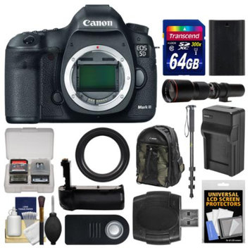 Canon EOS 5D Mark III Digital SLR Camera Body with 500mm Telephoto Lens + 64GB Card + Backpack + Battery & Charger + Grip + Monopod Kit