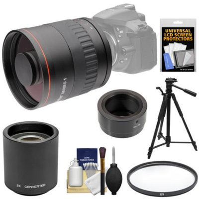 Vivitar 800mm f/8 Mirror Lens with 2x Teleconverter (=1600mm) + Tripod + Filter Kit for Samsung Galaxy NX, NX1, NX30, NX300, NX2000, NX3000 Camera