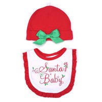 Lovespun Red 'Santa Baby' Bib & Beanie - Infant