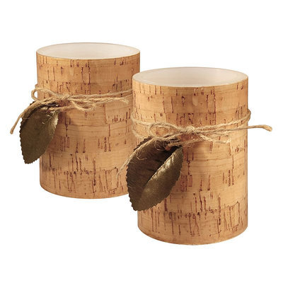 LumaBase Cork & Leaf Flameless Candle 2-piece Set, Brown
