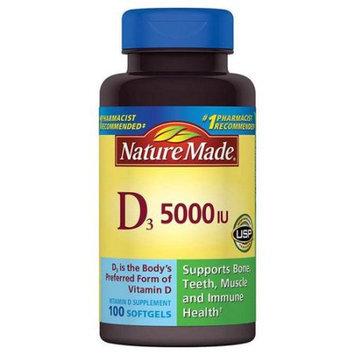 Pharmavite Llc Nature Made Vitamin D3 Dietary Supplement Softgels, 5000 I.U, 100 count