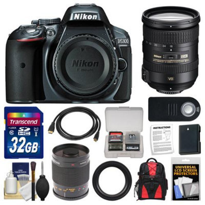 Nikon D5300 Digital SLR Camera Body (Grey) with 18-200mm VR II Zoom & 500mm Mirror Lens + 32GB Card + Backpack + Battery Kit
